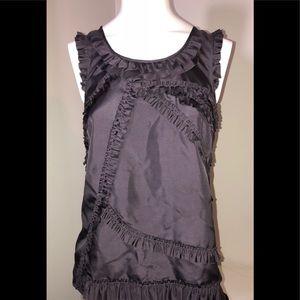 J Crew 0 Petite purple ruffle sleeveless blouse